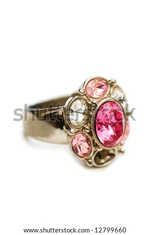 Ring with red stones isolated on the white