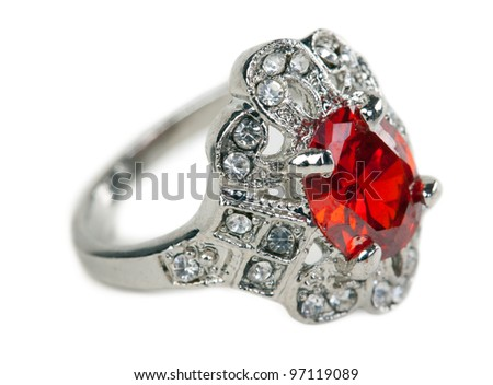 Ring with stone isolated on a white background - stock photo