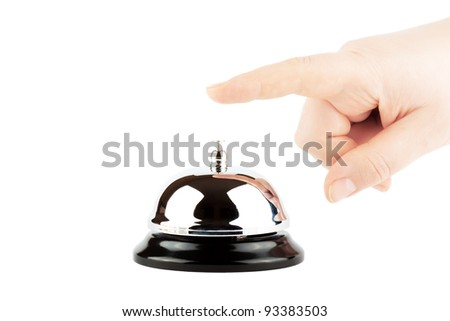 Ringing a Bell for Service with Hand on the white background - stock photo