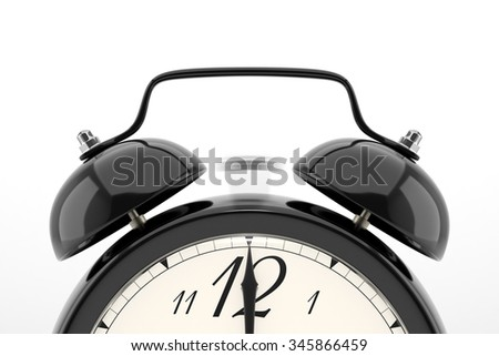 Ringing alarm clock. Black table shelf vintage clock on white background. Deadline, wake up, time is up, act fast, sale reminder, hot prices concept. - stock photo