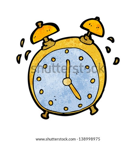 ringing alarm clock cartoon - stock photo