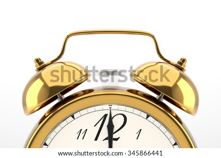 Ringing alarm clock. Golden table shelf vintage clock on white background. Deadline, wake up, time is up, act fast, sale reminder, hot prices concept. - stock photo