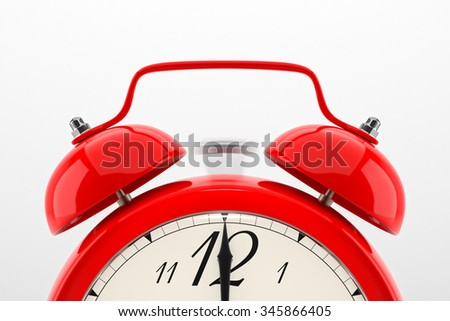 Ringing alarm clock. Red table shelf vintage clock on white background. Deadline, wake up, time is up, act fast, sale reminder, hot prices concept. - stock photo
