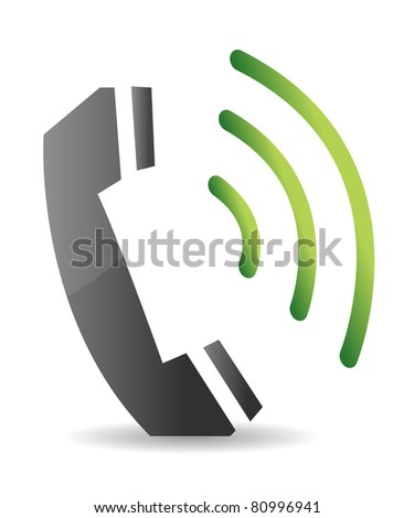 ringing phone illustration design over a white background - stock photo