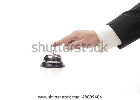 Ringing reception bell - stock photo
