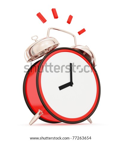 Ringing vintage alarm clock isolated on white background. 3d rendered. - stock photo