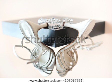rings and wedding accessories isolated - stock photo