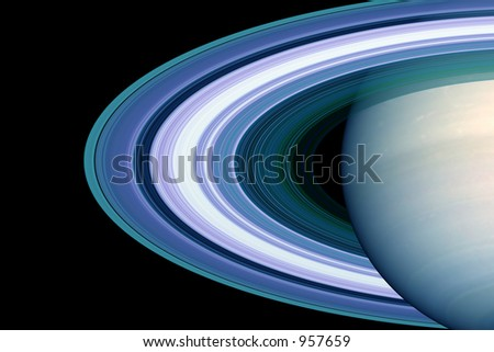 rings around the saturn - stock photo
