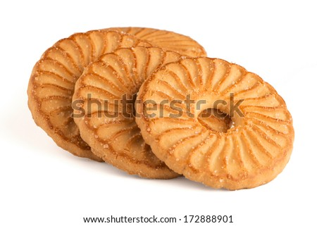 rings biscuits pile isolated on a white background - stock photo