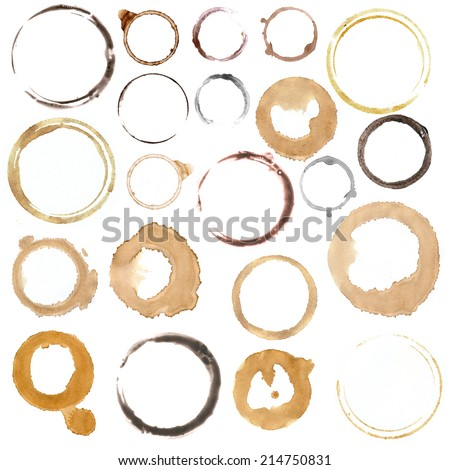 rings from cups and mugs - stock photo