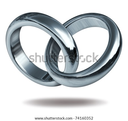 Rings linked together to form the silver and titanium shape of a heart representing the strong  concept of love and eternity. - stock photo