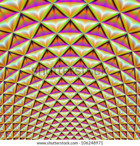 Rings of Triangles/Digital abstract image with a geometric design of rings and triangles in pink, orange purple and green.