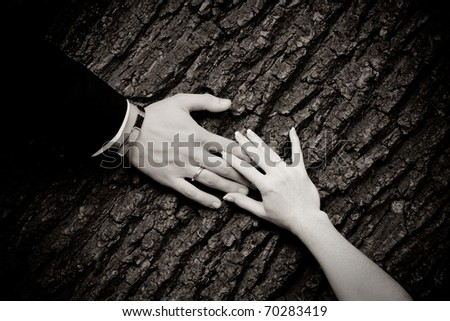 Rings on hands - stock photo