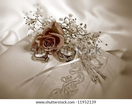 rings on satin pillow in sepia - stock photo