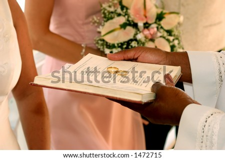 rings on the bible - stock photo