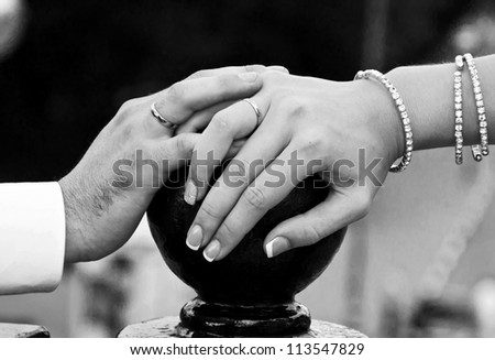 rings on the hands of newlyweds