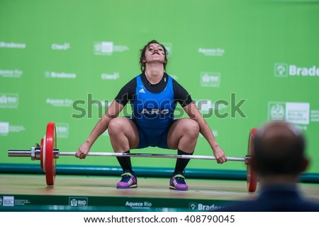 Rio, Brazil - April 4, 2016: PALACIOS JOANA (ARG) in the female category during the Aquece Rio Weightlifting Test Event at the Arena Carioca 1