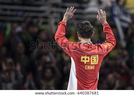 Rio, Brazil, 11 august 2016: Ma Long (CHN) gold medal in the table tennis of the Olympic Games rio2016, on the podium