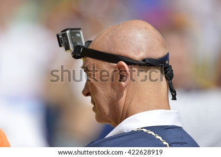 Rio, Brazil - June 22, 2014: fan with a camera in the head... during the FIFA 2014 World Cup. Belgium is facing Russia in the Group H at Maracana Stadium