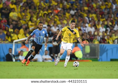 RIO, BRAZIL - June 28, 2014: James RODRIGUEZ of Colombia during the FIFA 2014 World Cup. Colombia is facing Uruguay in the Round of 16 at Maracana Stadium