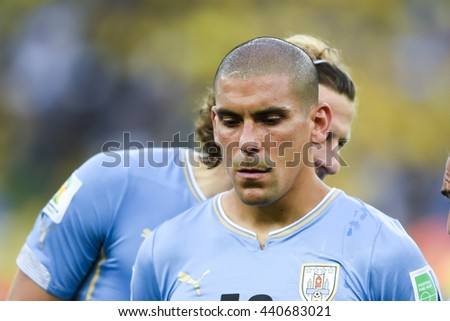 RIO, BRAZIL - June 28, 2014: Maximiliano PEREIRA of Uruguay during the FIFA 2014 World Cup. Colombia is facing Uruguay in the Round of 16 at Maracana Stadium