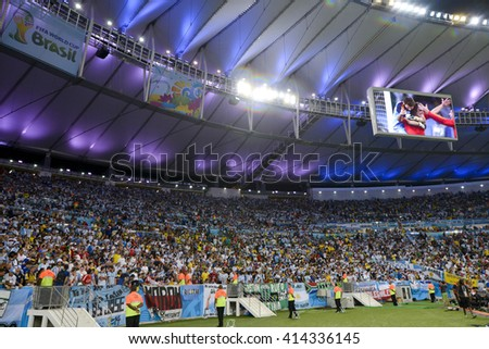 RIO, BRAZIL - June 15, 2014:  the 2014 World Cup. Argentina is facing Bosnia in the Group F at Maracana Stadium - stock photo
