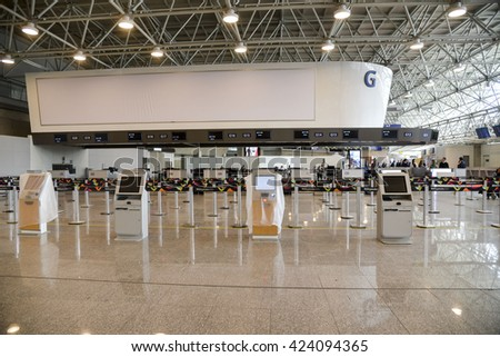 Rio, Brazil - may 05, 2016:  New dependencies of the expansion of the airport in Rio de Janeiro - stock photo