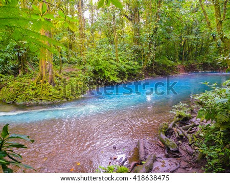 Rio Celeste, Tenorio volcano national park, Costa Rica - stock photo