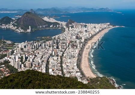 Rio de Janeiro Aerial View Overlooking Ipanema Beach, Rodrigo de Freitas Lagoon - stock photo