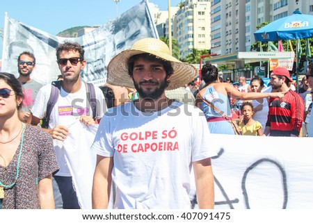 RIO DE JANEIRO, APRIL 17, 2016: Protests in Brazil against Dilma Roussef's impeachment. - stock photo
