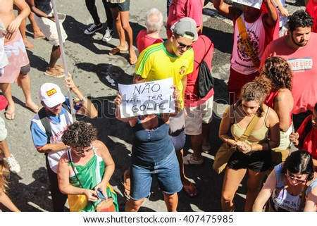 RIO DE JANEIRO, APRIL 17, 2016: Protests in Brazil against Dilma Roussef's impeachment in Copacabana beach. - stock photo