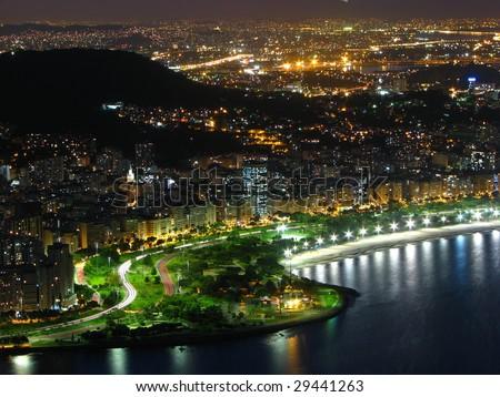 Rio de Janeiro at night - stock photo