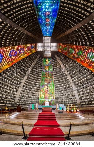 RIO DE JANEIRO - AUGUST 21, 2015: Interior of the metropolitan cathedral. The church is dedicated to Saint Sebastian, the patron saint of Rio de Janeiro - stock photo