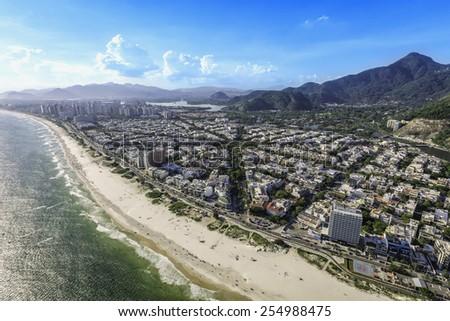 Rio de Janeiro, Barra da Tijuca aerial view, Brazil - stock photo