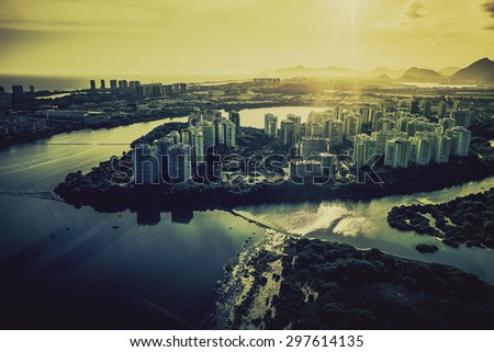 Rio de Janeiro, Barra da Tijuca with sunset light aerial view, Brazil - stock photo