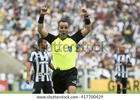 Rio de Janeiro, Brasil - may 08, 2016: Leonardo Garcia Cavaleiro referee player in match between Botafogo and Vasco by the first match final of Carioca championship in Maracana Stadium - stock photo