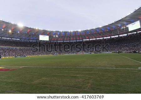 Rio de Janeiro, Brasil - may 08, 2016: Venue view player in match between Botafogo and Vasco by the second match final of Carioca championship in Maracana Stadium