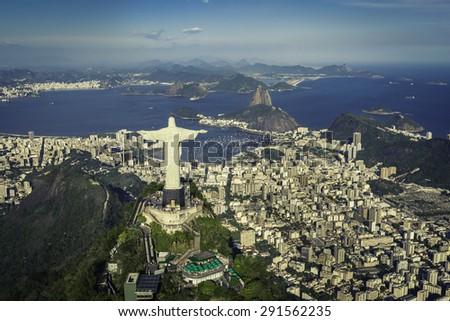 Rio de Janeiro, Brazil : Aerial view of Christ and Botafogo Bay from high angle - stock photo