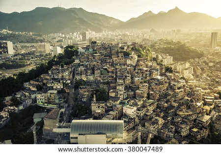 Rio de Janeiro, Brazil : Aerial view of Shanty Town on the hill in Downtown Rio - stock photo