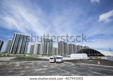 RIO DE JANEIRO, BRAZIL: APIRL 2, 2016:Olympics center for the 2016 Olympics almost finish before Olympics games. - stock photo