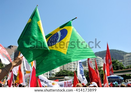 Rio de Janeiro, Brazil - April 17, 2016: Demonstrators gather at Copacabana beach to support President Dilma Rousseff. - stock photo