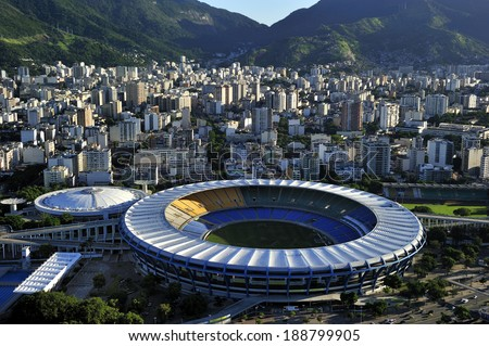Rio de Janeiro, Brazil-April 11, 2010: Maracana Stadium, world famous stadium, originally built in 1950 for FIFA World Cup, will host 2014 World Cup and opening & closing ceremony of 2016 Rio Olympic - stock photo