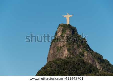 RIO DE JANEIRO, BRAZIL - APRIL 8, 2016: The famous landmark of Rio de Janeiro - Christ the Redeemer statue on the Corcovado mountain.