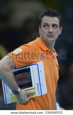 Rio de Janeiro, Brazil - august 06, 2016: coach GUIDETTI Giovanni (ITA) during volleyball game China (CHN) vs Nederland (NED) in maracanazinho in the Olympics Rio 2016 by the group phase