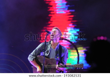 RIO DE JANEIRO, BRAZIL - August 16, 2011: Coldplay lead singer Chris Martin performing at the Rock in Rio held at Parque Olimpico Cidade do Rock in Barra da Tijuca.