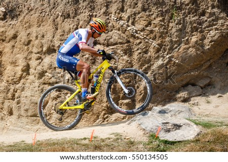 Rio de Janeiro, Brazil. August 18, 2016. Cycling Mountain Bike Training Sessions at the 2016 Summer Olympic Games in Rio De Janeiro. Peter Sagan (SVK)