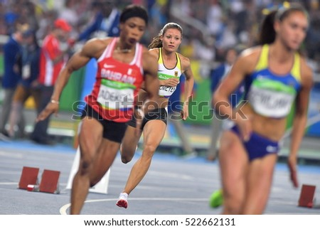 Rio De Janeiro, Brazil, August 15, 2016: German runners Sprint 400m Women, Ruth Sophia Spelmeyer, while competing at the Olympic Stadium Rio.