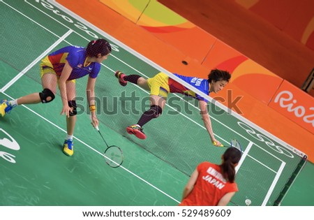 Rio De Janeiro, Brazil 16 August 2016: Malaysia badminton double women, against China Double Women when playing in Riocentro Pavilion 4, Rio De Janeiro, Brazil.