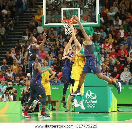 RIO DE JANEIRO, BRAZIL - AUGUST 10, 2016: Team United States in action during group A basketball match between Team USA and Australia of the Rio 2016 Olympic Games at Carioca Arena 1