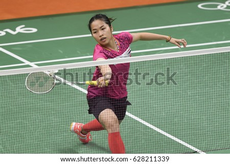 Rio de Janeiro, Brazil, 11 august 2016: The badminton player Intanon Ratchanok (THA) when playing against Kati Tolmoff (EST) during Olympic Games Rio 2016 at Riocentro Pavillon